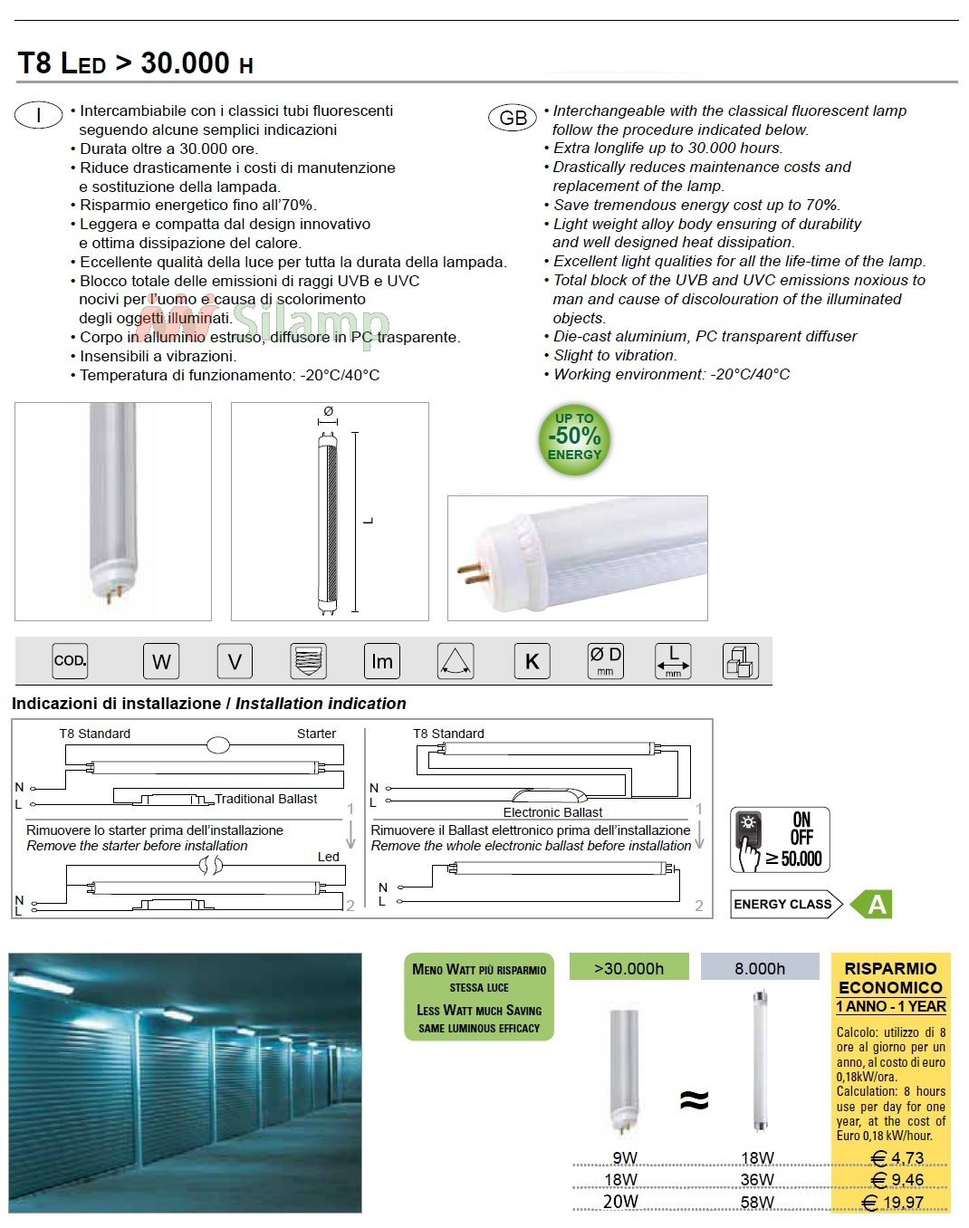 Tubo Led smd Bianco opaco T8 Led tube 20W lunghezza 120cm Silamp