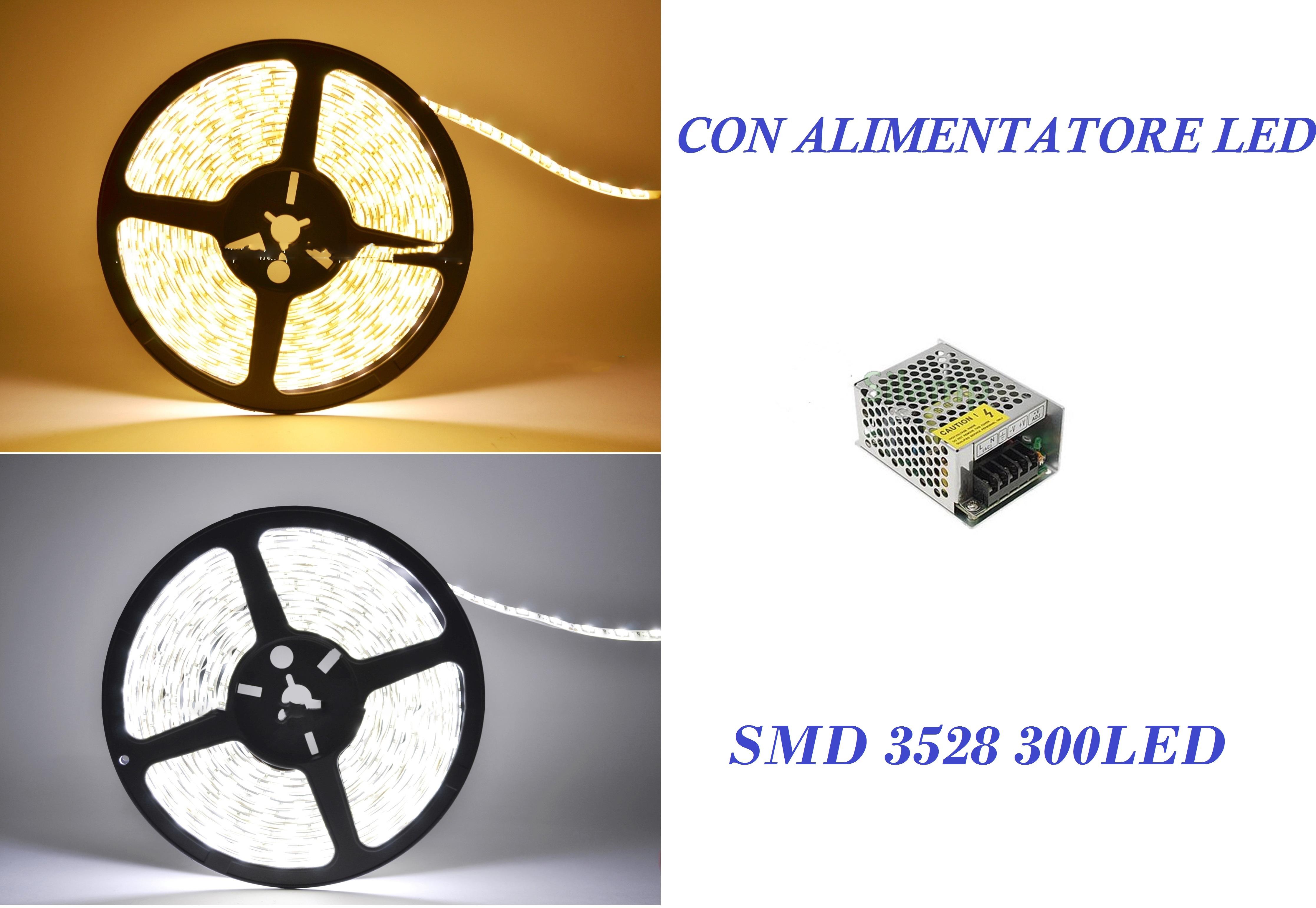 STRISCIA LED SMD5050 300LED BIANCA CALDA  5METRI+DIMMER TELECOMAN+ALIMENTATORE