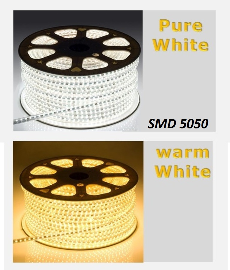 100metri Striscia Led 220V smd 5050 strip Bobina 6000 leds luce