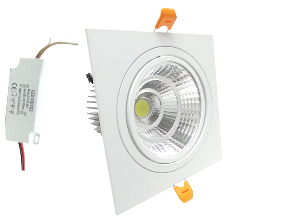 Faretto LED incasso Quadrato 12W Cob faro led controsoffitto con alimentatore Led