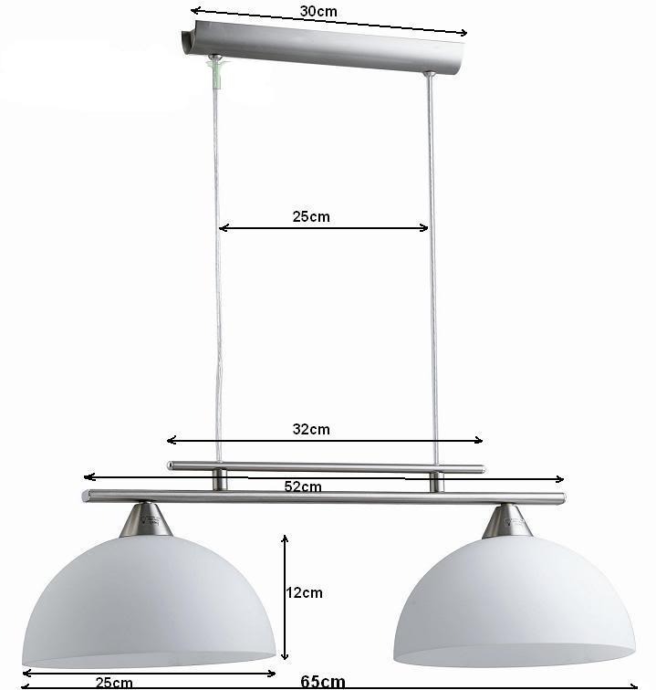 Sospensione Design Lampadario da soffitto Salone Cucina 2 Vetri ...
