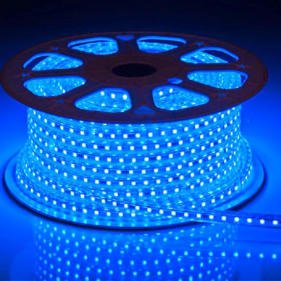 100metri Blu Striscia Led 220V smd 5050 strip Bobina 6000 leds luce