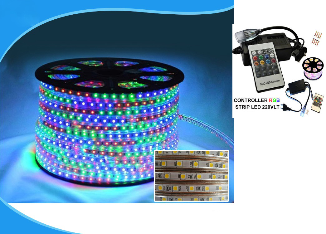 50metri Striscia Led RGB 220V smd 5050 strip Bobina incluso controller