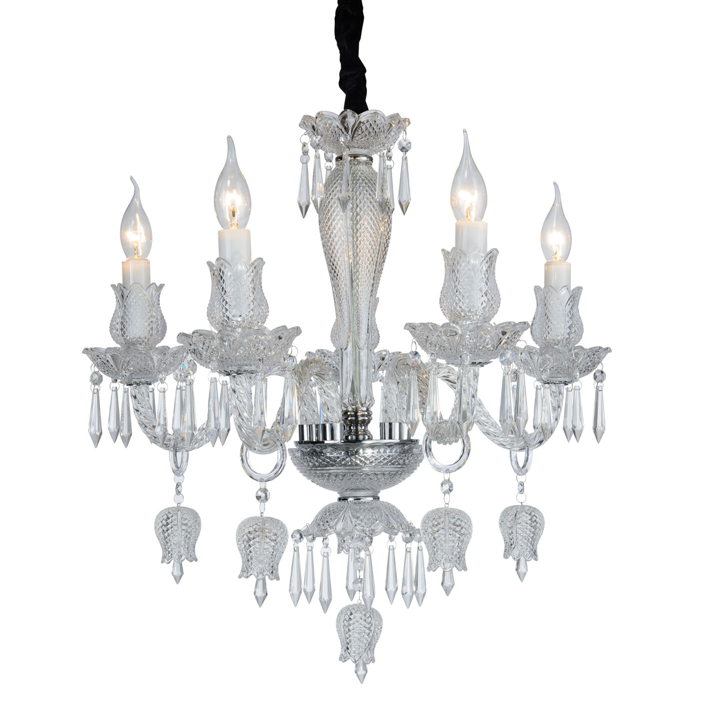 Chandelier ceiling Crystal Transparent Flowers and Tulips, 5-Arm 2084-5