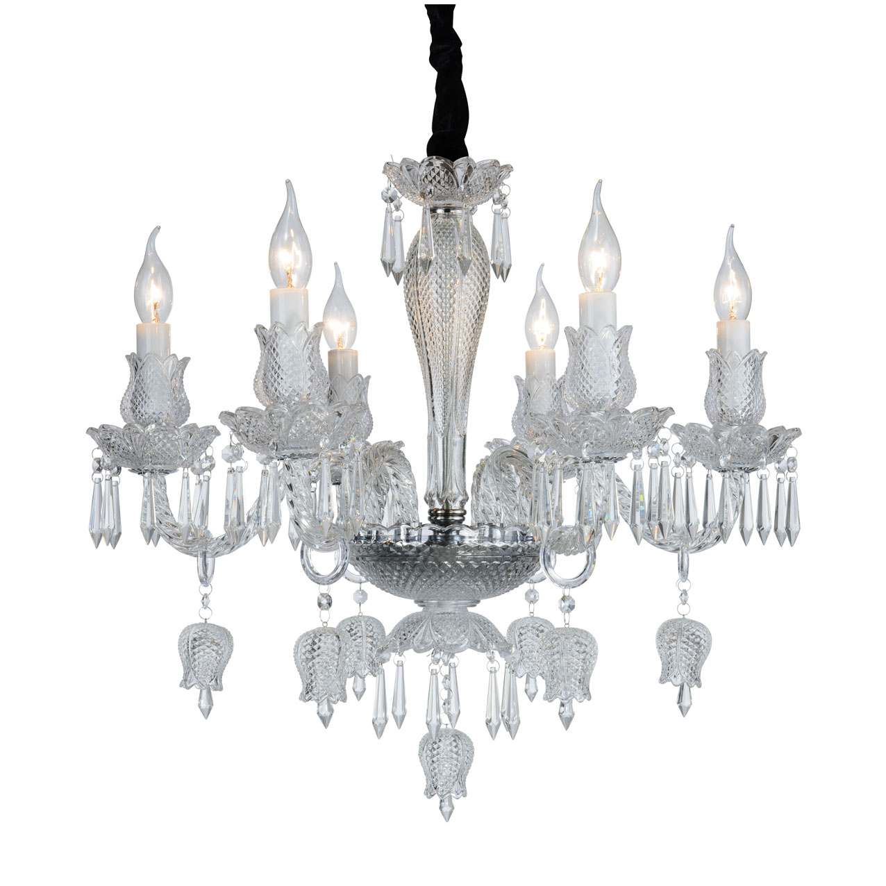 Chandelier ceiling Crystal Transparent Flowers and Tulips, 6 Arms 2016-6