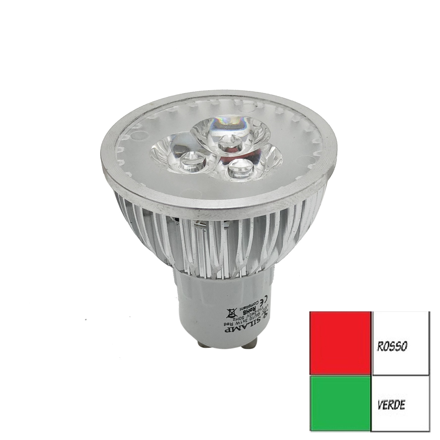 LED bulb Gu10 3x1w Green light or Red spot GU10-3W-COLOR