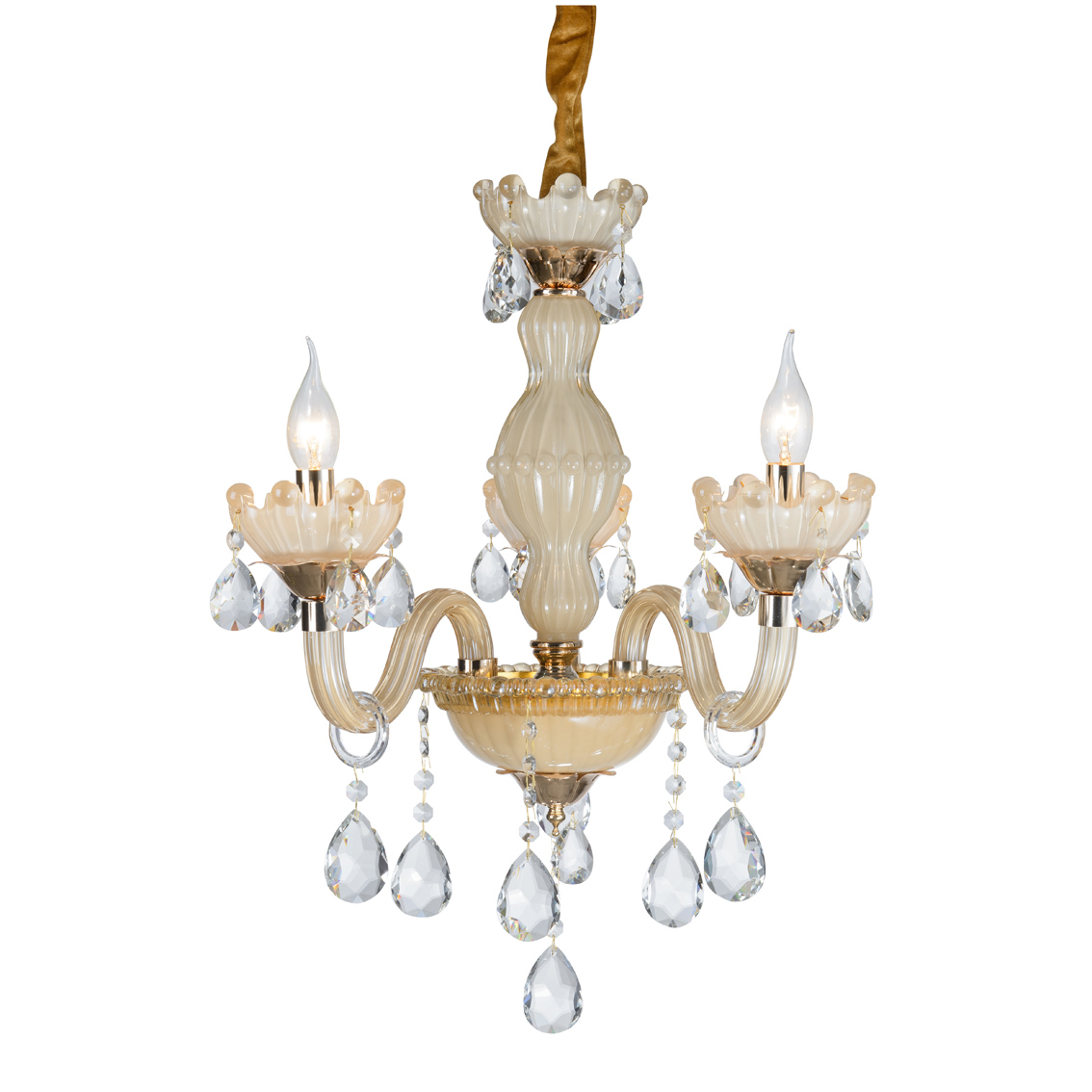Chandelier ceiling Crystal golden drops Transparent 3 Arms 2072-3