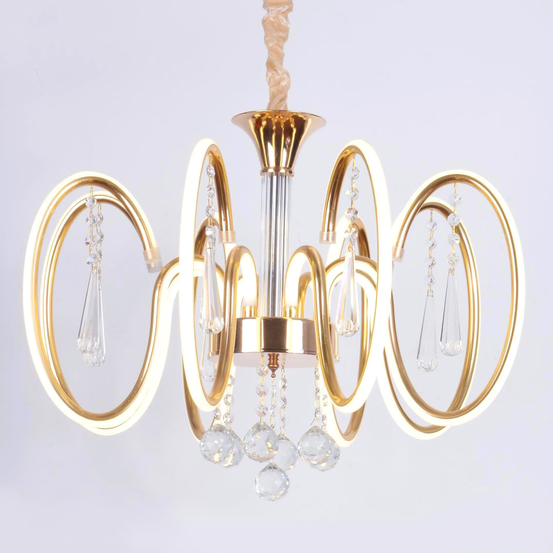 Chandelier ceiling Crystal golden drops Transparent 8 Arms 2072-8