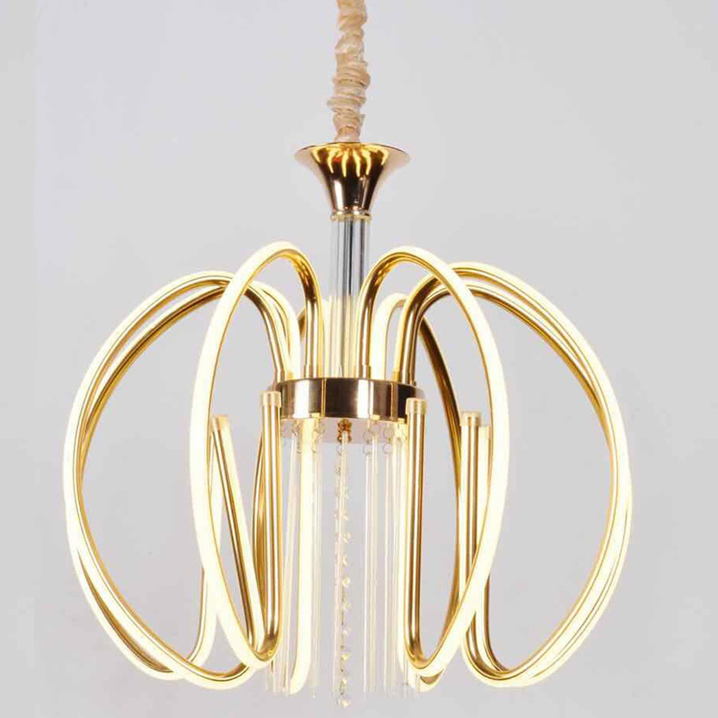 Chandelier 8 Arms 120w polycarbonate gold LED 4200k integrated 2069