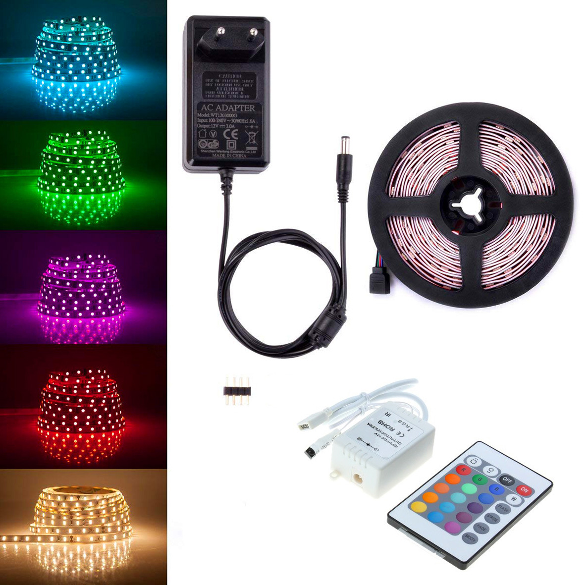 Striscia Led Rgb.Led Strip Rgb Strip 5metri Coil With Remote Controller The Internal And External