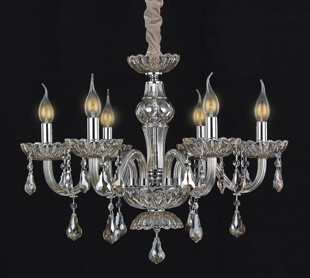 Crystal chandelier 6 lights lamp clear glass 2008-6