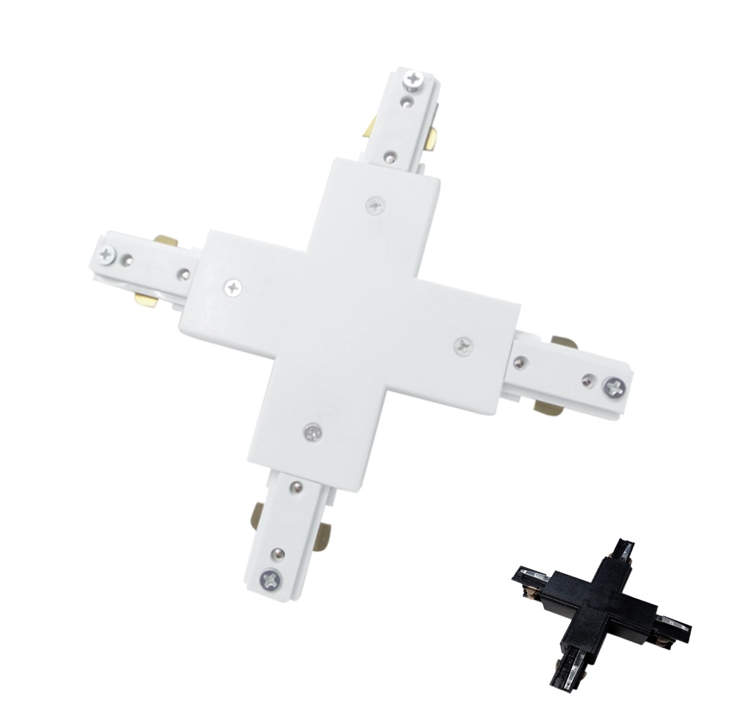 Angular connector X Binary three-phase Led Color White Black Joints