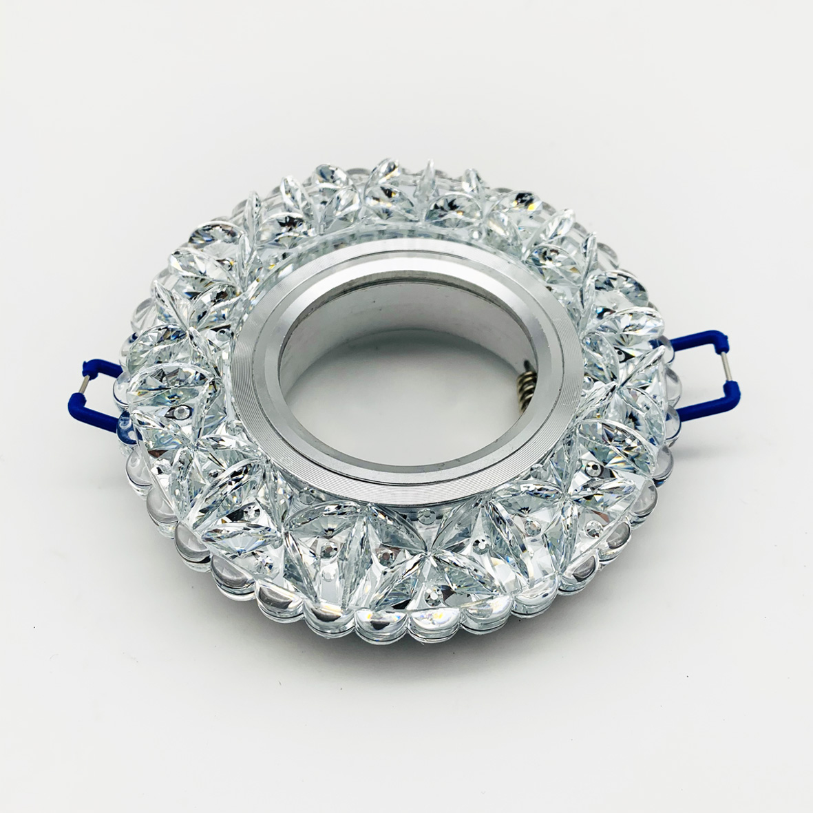 Ring spotlight GU10 for plasterboard in glass with details of diamond