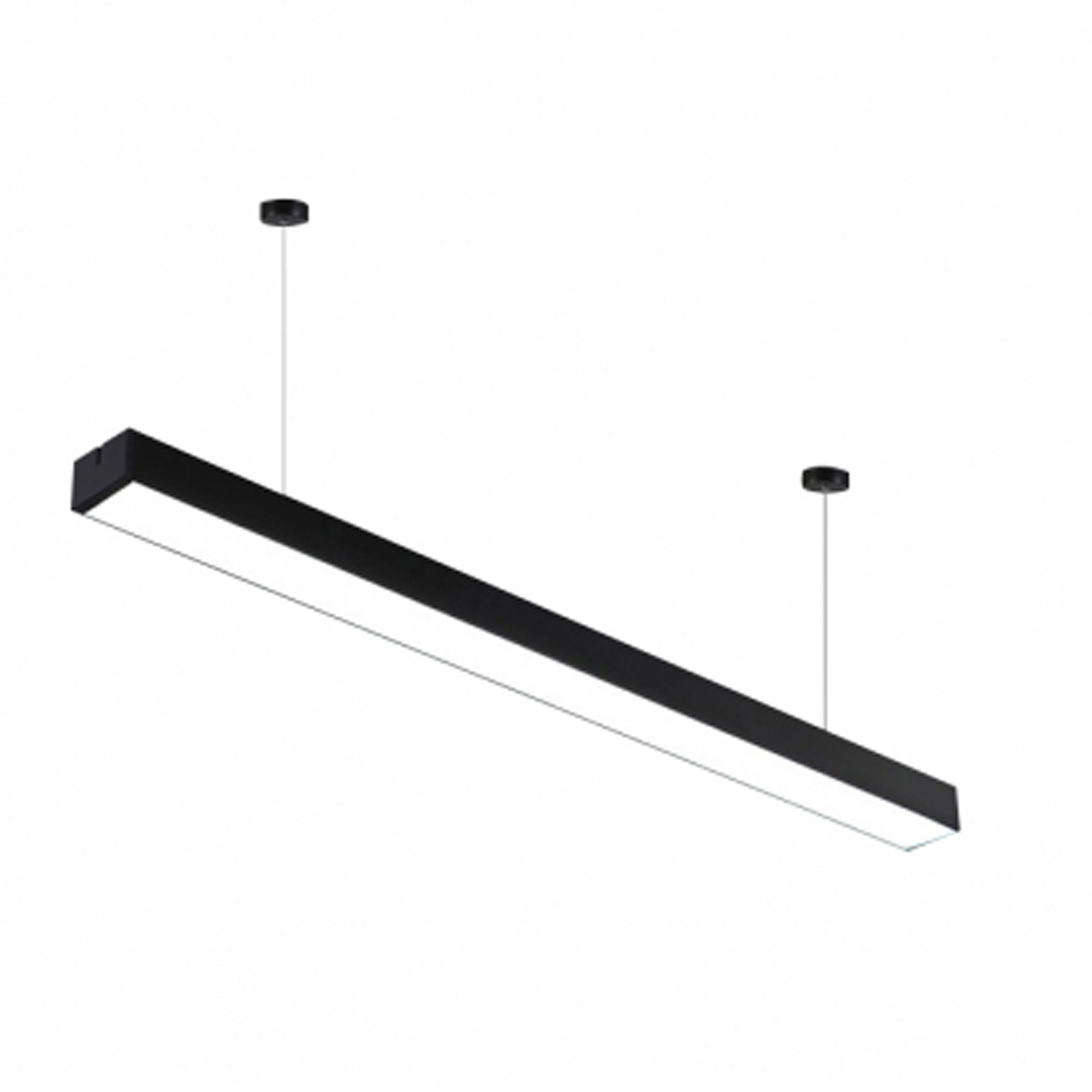 LED surface-mounted luminaire 36W 120x3,5x7cm Suspension with steel cable Black Pi-9-36W