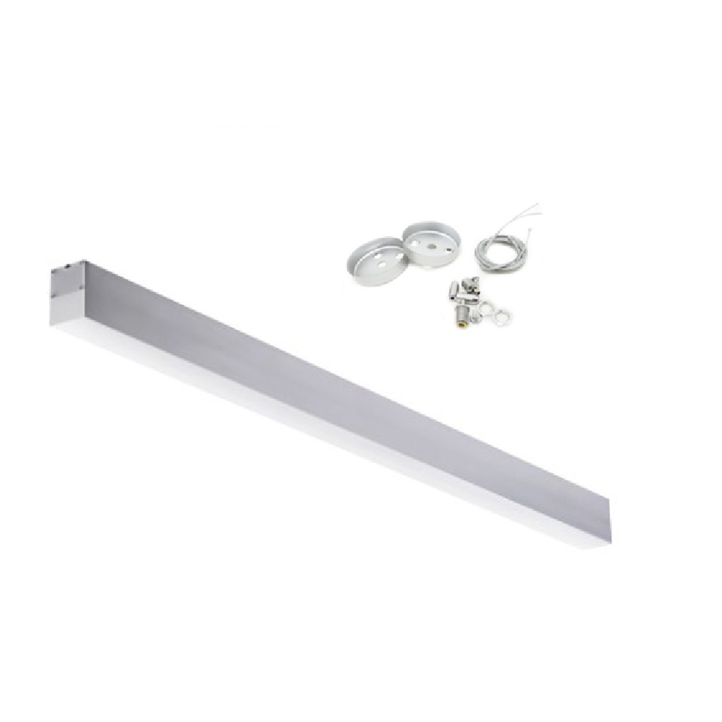 LED surface-mounted luminaire 36W 120x7x4cm Suspension with steel cable Silver Ir-8-36W