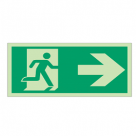Stickers and signs with arrow to the UNI EN ISO 7010 emergency Exit signs (on the right) - E002