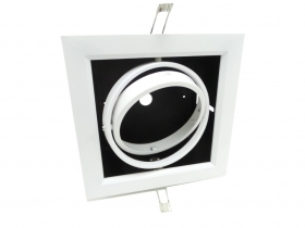 Adjustable recessed LED spotlight ar111 ring holder white finish