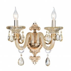Wall lamp Applique with 2 light lamp glass Crystal golden 2076-2