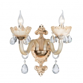 Wall lamp Applique Crystal golden drops Transparent 2 Arms 2072-2
