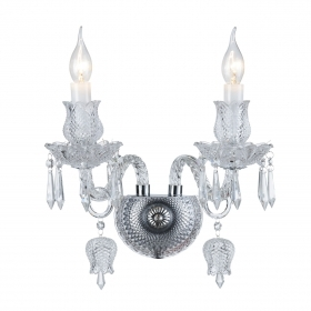 Wall lamp Applique Clear Crystal Flowers and Tulips, 2 Arms 2084-2