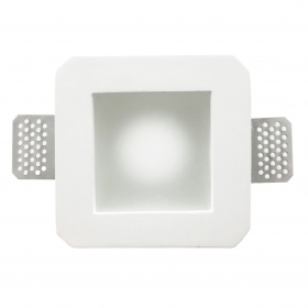 Portafaretto plaster concealed square side 12cm with glass for spotlight GU10