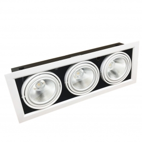 Portafaretto AR111 Adjustable 3x20w Complete with 3 LED Spotlights Ring Silamp