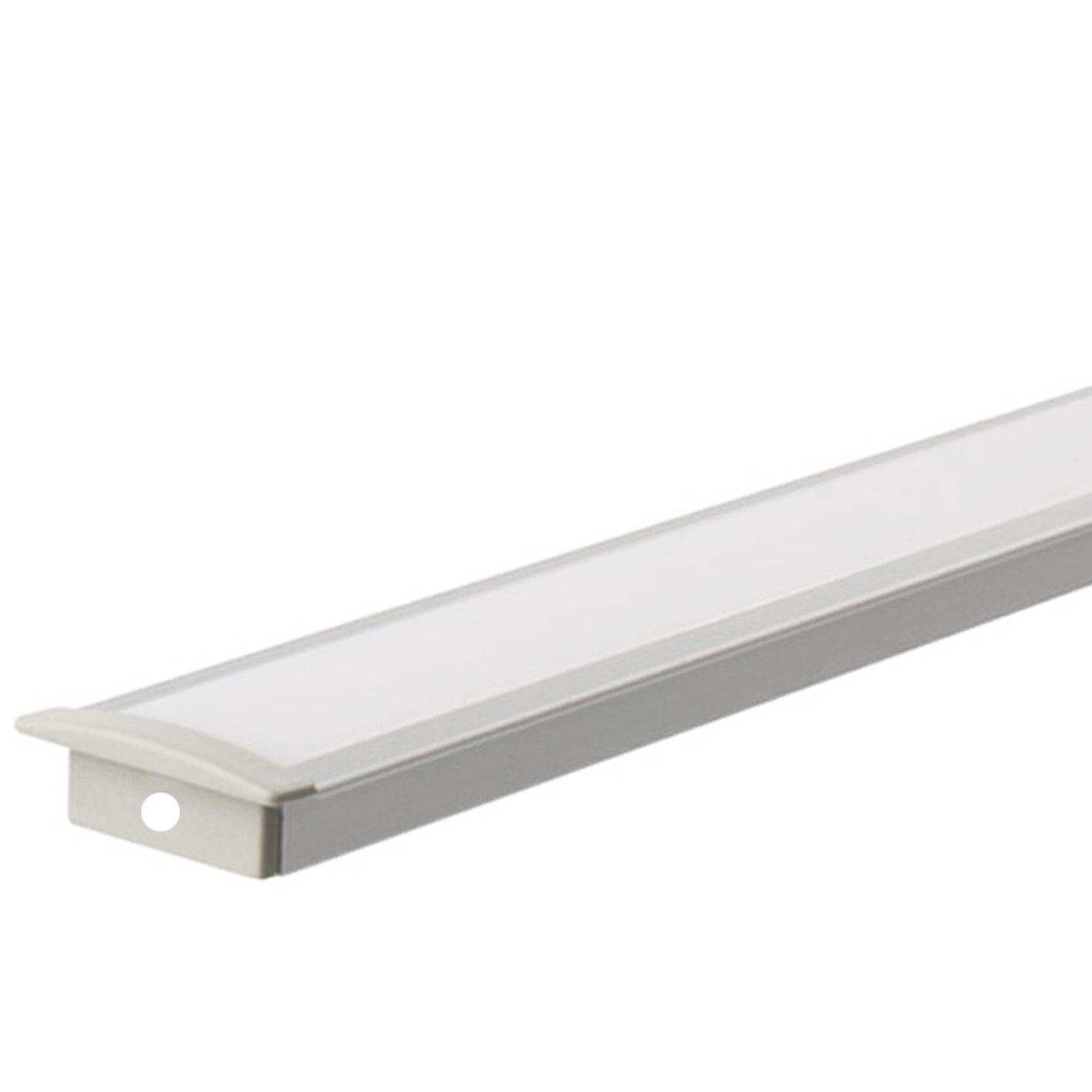Profilo per Striscia led 1mt BARRA da incasso Alluminio Copertura Opaca